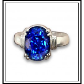 Astrological Blue Sapphire Silver Ring