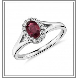 Oval Ruby and Diamond Gemstone Halo Ring